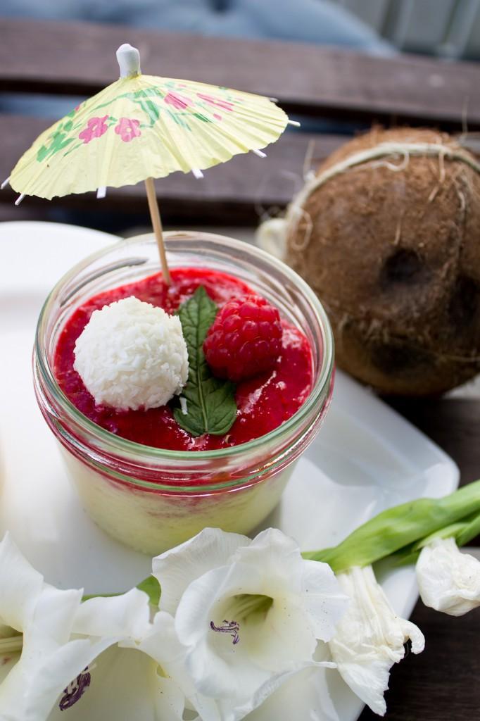 kokos himbeerquark dessert mit himbeer limettenspiegel raffaello dessert stadt land food. Black Bedroom Furniture Sets. Home Design Ideas